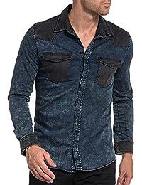 BLZ jeans - Chemise jogg jean stylé bleu et noir pour homme