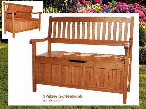 Gartenbank mit Aufbewahrungsfach Holzbank mit Auflagenbox - 2