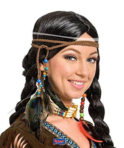 Hippie Carnevale Kostüm - Folat Indianer Stirnband mit Federschmuck