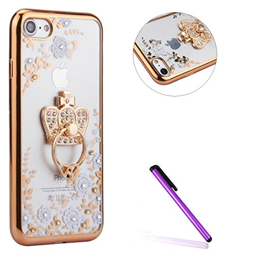 Coque Housse Etui pour iPhone 6 6S,iPhone 6 6S Coque Glitter Bling Silicone Etui Housse,iPhone 6 6S Paillette Transparente Coque,EMAXELERS iPhone 6 6S Ultra-Mince TPU Gel Etui Housse Cover,iPhone 6 6S Butterfly Flower 8