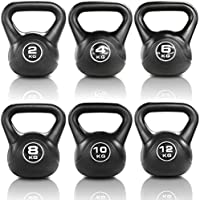 JLL® Vinyl Kettlebell Strength Training Home Gym Fitness Kettlebells (Black Colour) Ranging From 2kg, 4kg, 6kg, 8kg, 10kg & 12kg Kettlebells and Set Combinations.