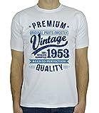 My Generation Gifts 1953 Vintage Year - Aged to Perfection - Cadeaux Anniversaire 65 Ans T-Shirt Pour Homme Blanc Bleu L