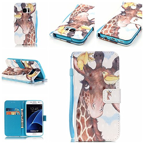 Uming® Retro Print Pattern Colorful Holster Cover Case ( Birds Giraffe - for Samsung Galaxy S6EdgePlus S6Edge+ G928 ) Artificial-leather Flip with Bracket Stander Holder Credit Card Slot Wallet Hasp Magnet Button Shell Protective Mobile Cellphone Cover Bag Test