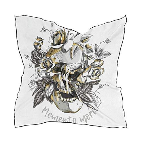 Metallic-satin-hut (Pizeok Metallic Skull Roses Women's Bandana Small Square Neck Scarf Silk Scarfs/Headband/Scarves Favor Design18)