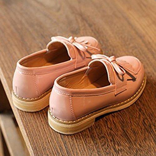 Oasap Mädchen Rund Franse Ohne Verschluss Oxford Schuhe Pink