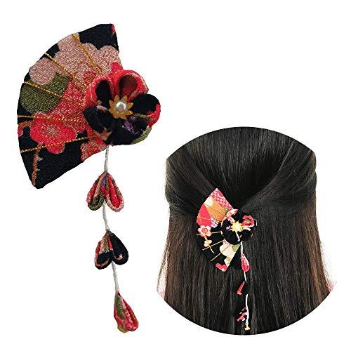 Asiatische Kostüm - Schneespitze Haar Clips,Quaste Anhänger Haarspange Haarklammer Haar Accessoires,Hairpin Hair Stick Vintage,Kostüm Kimono Bademantel Zubehör Stoff Blume Haarnadel
