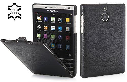 StilGut UltraSlim Case, Hülle Tasche aus Leder für BlackBerry Passport Silver Edition, schwarz