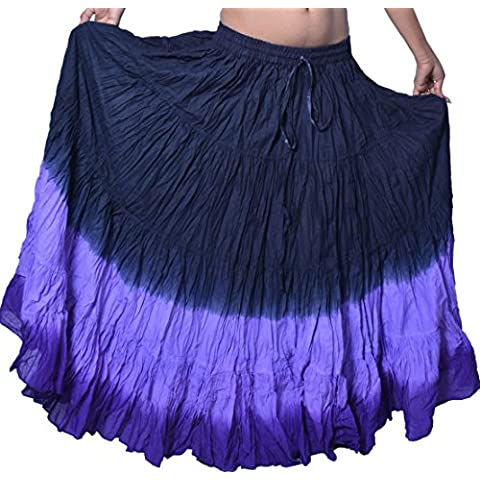 wevez Falda de danza del vientre algodón y 12Yard, Mujer, color BLP, tamaño