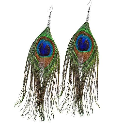 -Ohrringe Ohr-Schmuck Ohrhänger Pfau Auge Boho Indianer Hippie Damen Ohrstecker Vintage Fasching (Ohr-kostüm)
