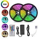 LED Streifen Licht, 10m Wasserfestes LED-Strip-Kit mit 300 SMD 5050 RGB-LEDS...