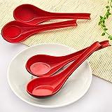 Dealglad mestolo in stile cinese rosso e nero in melammina cucchiaio a manico lungo cucchiaio da zuppa, Melammina, Red & Black, 17 x 4 x 1.2cm