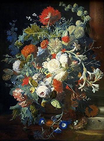 Bouquet & Colonne par Jan Van Huysum Poster Impression numérique, Papier, 24.46 x 33.10 Inches