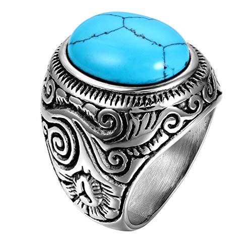 OIDEA Edelstahl Ringe Silber für Herren Damen, Klassiker Retro Charm Künstlicher Türkis Steine Edelstahlring Herrenring Ringgrößen 65 (20.7)