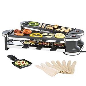 Ultratec RG1200 Raclette (1200 Watt, Duo 4 Gelenkgrill, Raclette-Grill für bis zu 8 Personen)