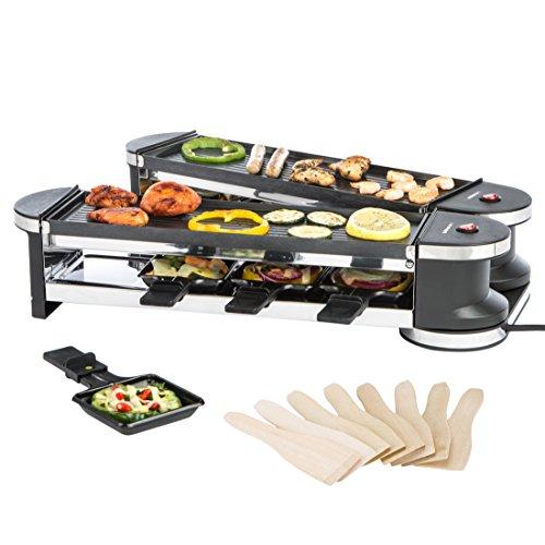 Ultratec RG1200 Raclette (1200 Watt, Duo 4 Gelenkgrill, Raclette-Grill für bis zu 8 Personen) (Wasserkocher Pizza Grill)