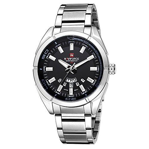 NAVIFORCE Herren Quarz Analog Uhr 3ATM Wasserdicht Edelstahl Uhrenarmband Armbanduhr mit Datum Woche Funktion