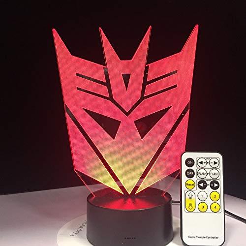 en Maske 3D led nachtlichter atmosphäre tischlampe 7 Farben für Kinder Schlafzimmer Touch Fernbedienung dekorative Lampe ()