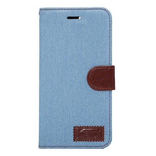 Hülle für iPhone 7 plus , Schutzhülle Für iPhone 7 Plus Cowboy Tuch Textur Magnetische Adsorption Horizontale Flip Leder Tasche mit Card Slot & Holder & Wallet ,hülle für iPhone 7 plus , case for ipho Baby Blue