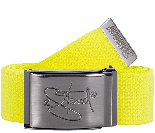 2Stoned Gürtel Canvas Belt Neon-Gelb, matte Schnalle Classic, 4 cm breit, Stoffgürtel für Damen und Herren