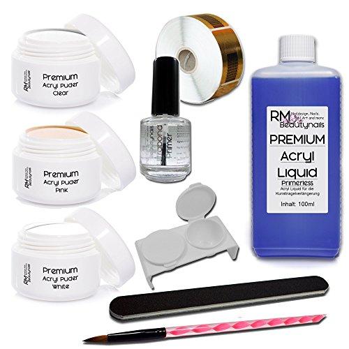 RM Beautynails Coffret Acryl Set 1 - Acrylique liquide 100 ml - 20 g chacun (Transparent - Blanc – Rose clair) et 1 Primer de qualité studio
