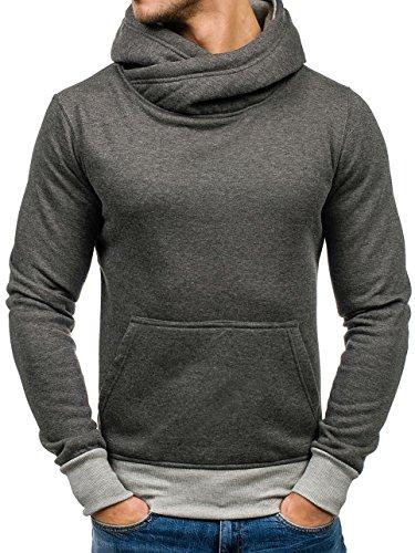 BOLF Herren Kapuzenpullover Sweatshirt Langarmshirt Pulli Hoodie Basic 1A1 Dunkelgrau-Grau
