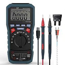 Digital Multimeter,BOLYFA Advanced Multimeter mit USB,6000 Counts, True RMS, Temperaturmessung, Außenleiter-Identifizierung, Durchgangsprüfung, Hintergrundbeleuchtung