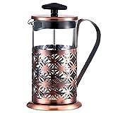 QIN.J.FANG In Acciaio Inox Vintage Manuale Caffettiera Vetro Teiera Filtro Pressa Per Caffè Tè Filtro Percolatore Pressa A Stantuffo 350Ml