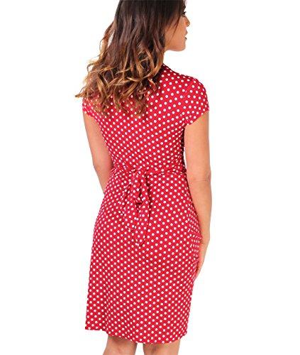 KRISP® Femmes Robe Portefeuille Midi Noeud Torsadé Col V Casual Rouge (6488)