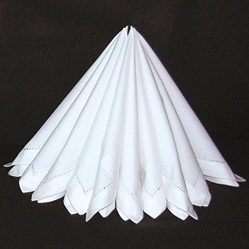 Baumwolle Serviette Stoff (Edle Stoffservietten 2er Pack in weiß mit Hohlsaum 40 x 40 cm Servietten aus Stoff Ökologisch 100% Baumwolle Maschinenwäsche 60° Typ522)