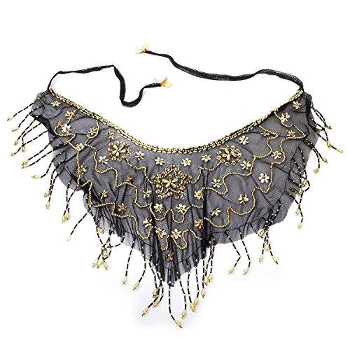 Perlen Kostüm Bauchtanz - AILIENT Bauchtanz Gesicht Schleier Münzgürtel Perlen Sequins Mesh Bauchtanz Kostüm Zubehör(schwarz) (Color : -, Size : -)