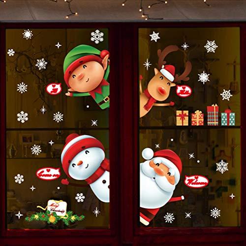 Pegatinas De Navidad Arbol Fiesta Extraíbles Adorable Papá Noel Nieve Alce Colores Pegatina De Pared Etiqueta Engomada PVC Pegatinas Electrostáticas Para Fiesta