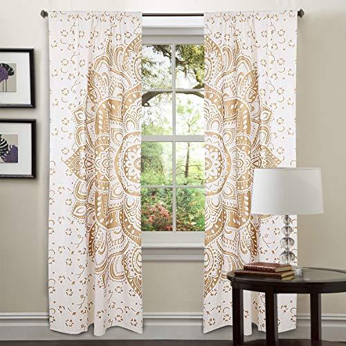 Traditional Jaipur Golden Floral Ombre Mandala Vorhang, Boho Fenster Behandlung Set, Tür hängend, drapieren Balkon Boho Bohemian Room Decor Vorhang Set von 2-80 x 40 Zoll jeweils -