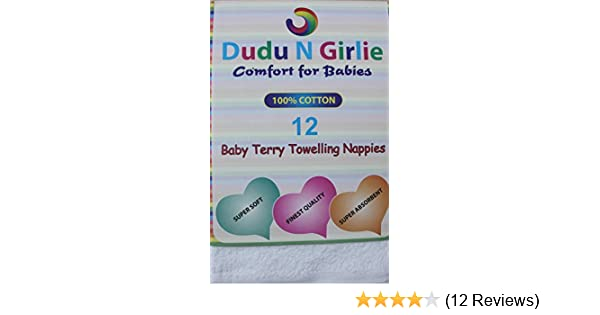 6-Piece White Dudu N Girlie Terry Cotton Baby Towelling Nappies