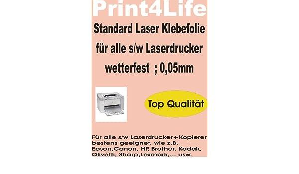 10 Blatt DIN A4 Standard Laser Kopierer Klebefolie klar wetterfest P4L