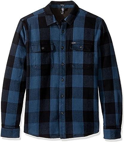 Volcom Men's Enders Long Sleeve Shirt, Airforce Blue, Medium