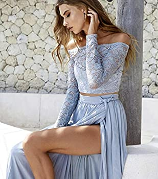 Women Dresses,women Lace Long Sleeve Summer Tops+chiffon Formal Party Cocktail Long Skirt (S, Blue) 2
