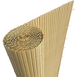 HENGMEI 500x90cm PVC Sichtschutzmatte Sichtschutzzaun Bambus - Zaun Sichtschutz Windschutz Blickdicht fur Garten, Balkon und Terrasse (500x90cm, Bambus)