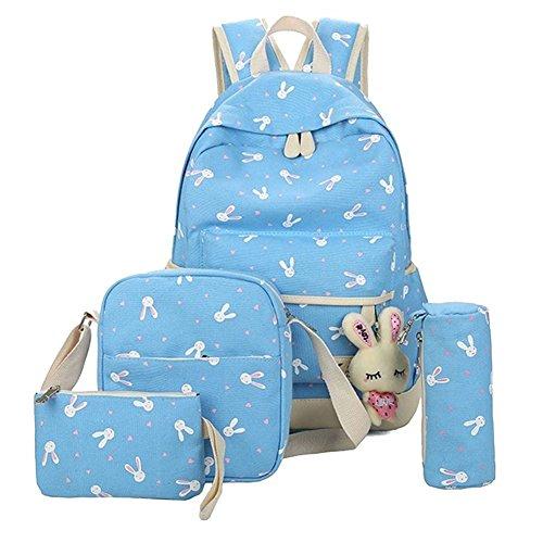 YiLianDa Zaino Scuola Ragazze Adolescenti Canvas Backpack Zaino Spalla Viaggio Daypacks 4pcs Blu