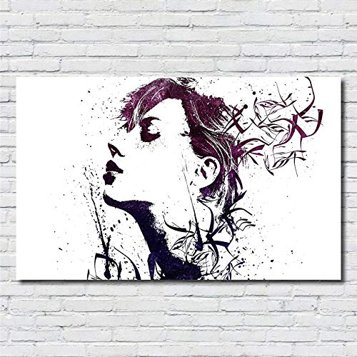 XWArtpic Abstrakte Mode Denken Mädchen Haar Poster und Print Nordic Poster wandkunst Wohnkultur HD Malerei Poster leinwand malerei 60 * 110 cm
