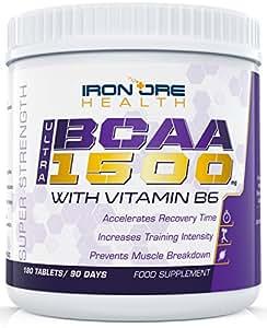 BCAA Ultra 1500 | Extrastarke 3000 mg Aminosäuren als Sport Ergänzungsmittel | 180 Tabletten | 3 Monatsvorräte | Hergestellt von Iron Ore Health in Großbritannien