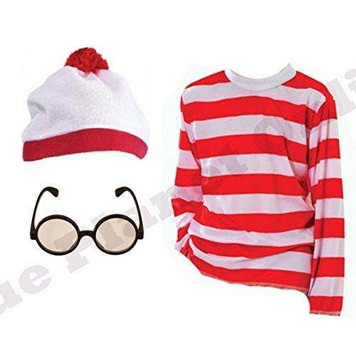 Kostüm Shirt Red Hat Blue - Childrens Kids Boys Girls Red White T Shirt Hat Glasses Book Week Fancy Dress Costume (4-6 years, T Shirt Hat & Glasses) by Blue Planet Online