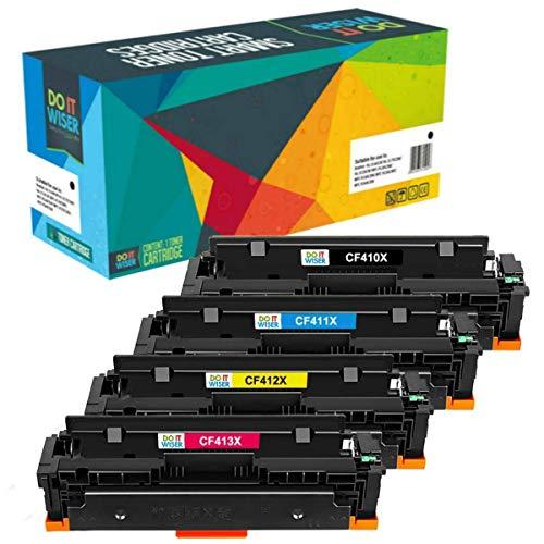 Do it Wiser 4 cartuchos compatibles con HP Color Laserjet Pro M477fnw toner HP 410X M452dn M452dw M477fdn M477fdw M452nw M377 410A CF410X CF411X CF413X CF412X (4 Pack)