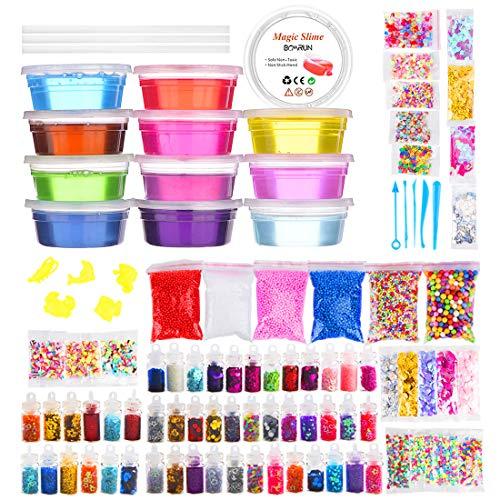 DIY Slime Making Kit 100 piezas Slime Supplies Haz tu propio Slime, Slime Making Kit para Niños Niñas Niños,Incluye Clear Crystal Slime,Glitter Jars,Floam & Shell Beads,Fishbowl Beads,Fruit Slices (C)