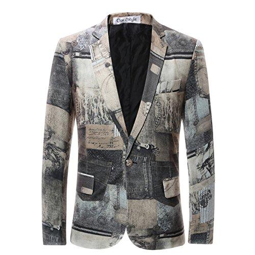 Cloudstyle Slim Fit Herren bunter Sakko Muster Casual Blazer Kostüm (Anzug Muster Kostüm)