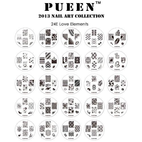 Pueen 2013 Nail Art Stamp Collection Set 24E - AMOUR - ELEMENTS nouvel ensemble unique de 24 Nailart polonais Stamping Manucure image Plaques Accessoires Kit (totalisant 144 Images) avec étui de rangement nouvelle BONUS en couleur rose
