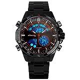 Infanterie Homme analogique–Digital montre bracelet avec cadran noir chronographe et bracelet en acier inoxydable Noir