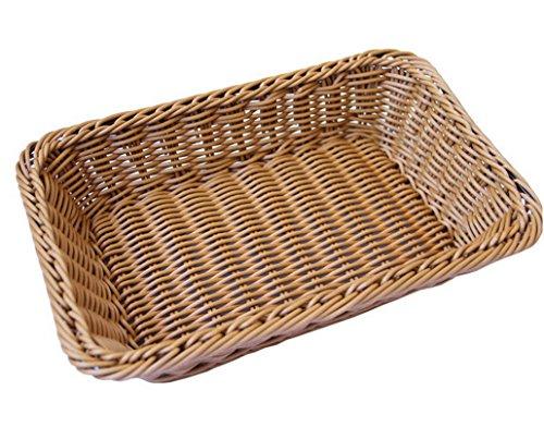 Restbuy Weidenkorb Korb Aufbewahrung geflochten für Brot Obst Snack,rechteckiger Korb,Braun, 40 x 30 x 8cm