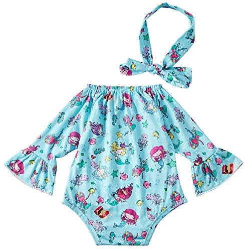 Chicolife Hellblau Kind - Baby-Body Long Sleeve Bodysuit mit Stirnband Mermaid Seestern Druck Babykleidung
