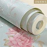 XPY-Wallpaper \ Europäische Garten Tapete PVC Wasserdichte Verdickung Schlafzimmer Tapete, hellgrün