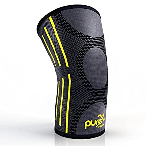 PURE SUPPORT Compression Knee Sleeve – Best Knee Brace for Meniscus Tear, Arthritis, Quick Recovery, etc. – Ideal for Running, Crossfit, Basketball and Other Sports – Single Wrap